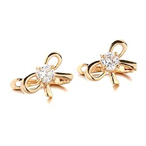 YupFun Women's 18K Gold Plated Crystal Clear Austria Stones Small Layla Bow French Earrings