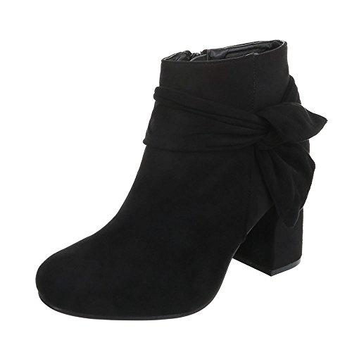 Ital-Design Klassische Stiefeletten Damenschuhe Klassische Stiefeletten Pump Moderne Reißverschluss Stiefeletten Schwarz