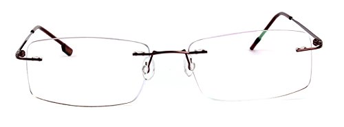 Agstum Titanium Alloy Flexible Rimless Hinged Frame Prescription Eyeglasses Rx (Brown, - Rimless Frames Spectacle