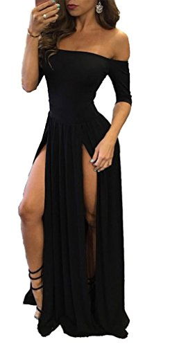 Moxeay Women Sexy Off Shoulder High Slit Nightclub Cocktail Party Long Dress...