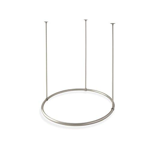 "Naiture Brass 32"" Round Shower Curtain Rod Brushed Nickel Fi"
