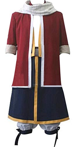 Poetic Walk Fairy Tail 4th Anime The Final Season Natsu Lucy Cosplay Costume Uniform Outfit (Mens-L, Red)]()