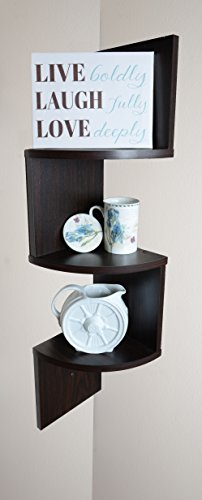 Adorn 3-Tier Corner Shelf, Wall Mount, Brown