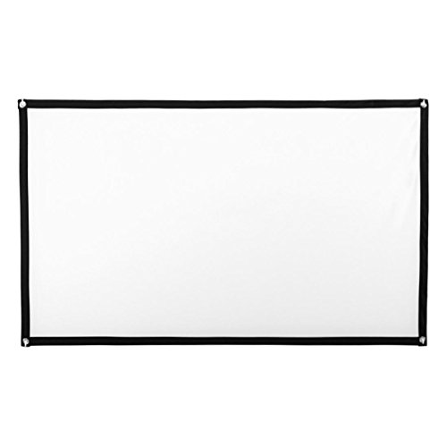 HD Projector Screen 16:9 Home Cinema Theater Projection Portable Screen Foldable for Home Theater Cinema Indoor Outdoor Front and Rear Simple Projection (White, 100 inch) by OVERMAL Clearance