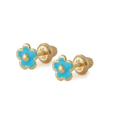 Girls Jewelry - 14K Yellow Gold Blue Flower Screw Back Stud Earrings by Loveivy