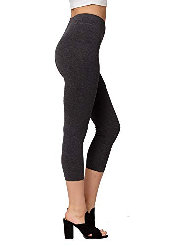 - Premium Ultra Soft Stretch High Waisted Cotton Leggings for Women with Yoga Waistband - Capri Charcoal Grey - Medium