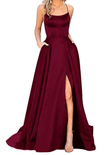 Split Formal Evening Gowns Spaghetti Straps Satin Prom Dresses Long with Pockets Womens Burgundy 6