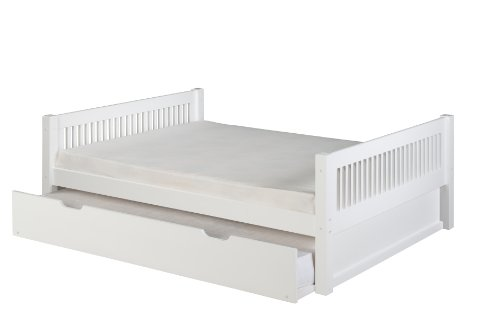 Pull Out Trundle - Camaflexi Mission Style Solid Wood Platform Bed with Trundle, Full, White