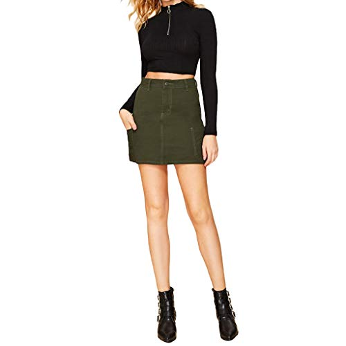 (Funnygals Womens Plus Size Mini Skirt Ladies Solid Bodycon Above Knee Length Pencil Skirts Women Plus Size Green)