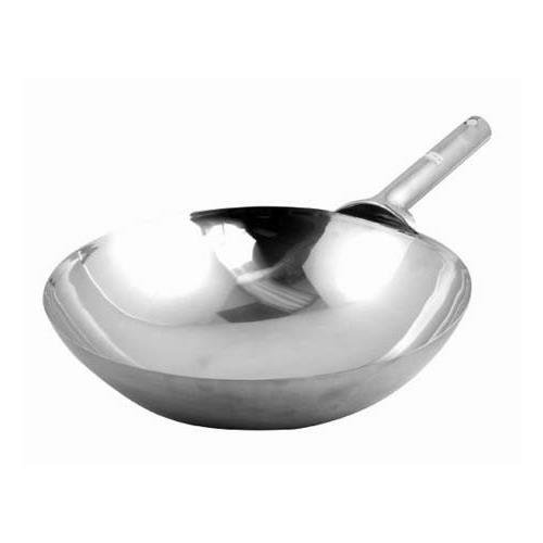 Winco WOK-14W Chinese Wok, 14'', stainless steel - Case of 12