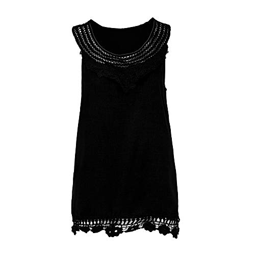 iYBUIA Women O-Neck Sleeveless Pure Color Lace Plus Size Vest Loose T-Shirt Blouse with Hollow Hem Black by iYBUIA (Image #2)