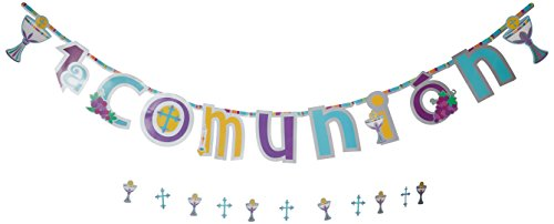 Amscan Mi Primera Comunión First Communion Party Jumbo Letter Banner Kit Decoration, Paper, 9' x 10