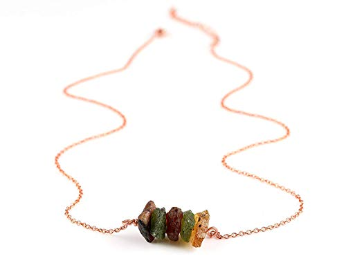 (Natural Raw Tourmaline Slices Crystal Pendant Necklace, Rough Multi Tourmaline, Rough Multi Tourmaline Rock, Rose Gold Fill Chain, Natural Tourmaline Gemstone, Raw Gemstone Necklace, Dainty)