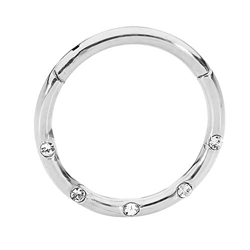 365 Sleepers 316L Surgical Steel 16G CZ Gem Hinged Segment Ring Body Piercing - Sold Individually