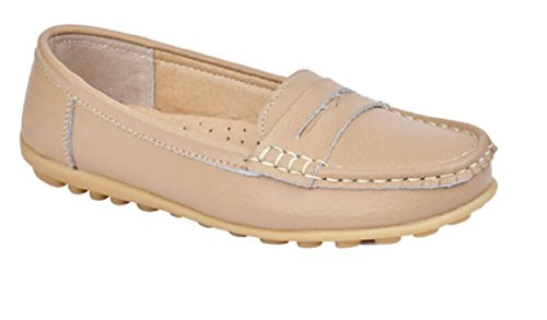 Jo and Joe Womens Ladies Luxury Leather Loafers In White, Gold, Rose Gold or Blue Size 3-4-5-6-7-8 Beige