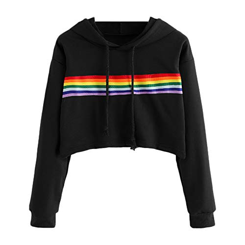 OWMEOT Women's Loose Striped Long Sleeve Crop Top Pullover Sweatshirt Rainbow Colour (Black, S)