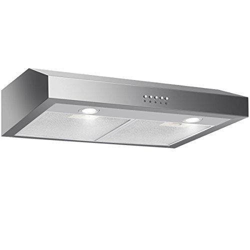 Costway 30″ Capable Under Cabinet Range Hood 3-Speed Stainless Steel Cooking Vent Fan with LED Light (Under Cabinet with 7″ Height)