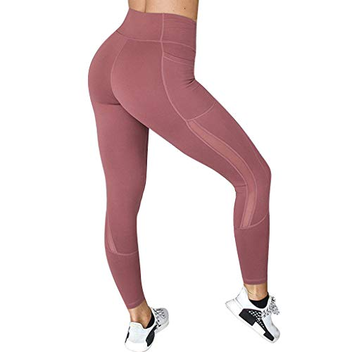 FONMA Womens Yoga Pants Stitching Pockets Tight Fitness Trouser and Sports Pants Red