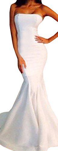 Ermonn Women's Sexy Strapless Bodycon Mermaid Party Maxi Dress,Small,White (Wedding Dress Made In China White)