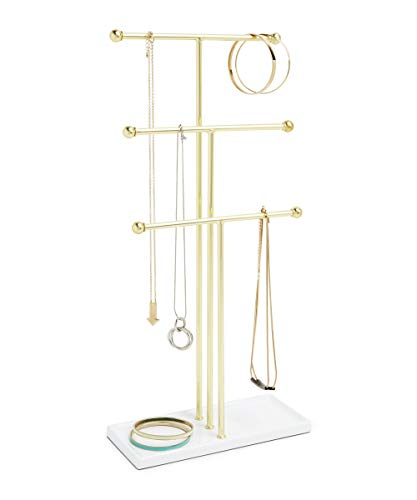 Umbra Trigem Hanging Jewelry Organizer - 3 Tier Table Top Necklace Holder and Display, White/Brass