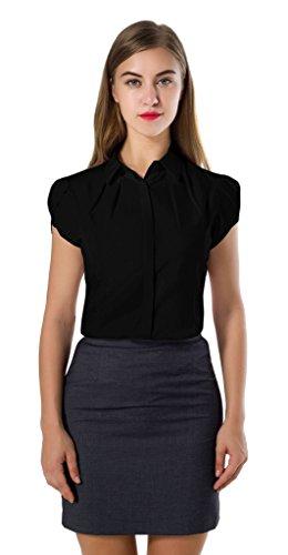 DkaoE Womens Cotton Button Down Work Shirt Short Sleeve Blouse