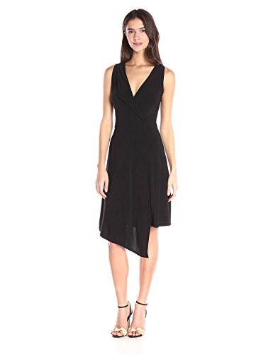 Star Vixen Women's Sleeveless Asymmetrical Dress with Fold Over Collar, Black, ()