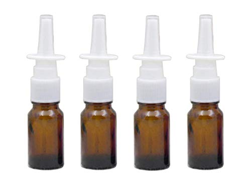 6PCS 10ml/0.34oz Empty Glass Refillable Nasal Spray Bottles Fine Mist Sprayers Atomizers Makeup Water Travel Containers Jars For Perfumes Essential Oils Medical Saline Water Applications (Brown) ()