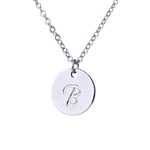 (AOLO Small Round Disc Alphabet Initial Necklace B)