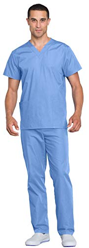 Cherokee Adult's Unisex Top and Scrub Pant Set, Ciel, X-Small