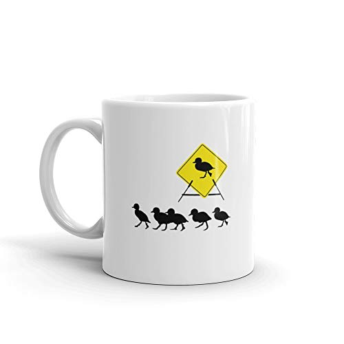 Duckling Crossing Sign Quack Favorite Drink Mug Ceramic 11 Oz