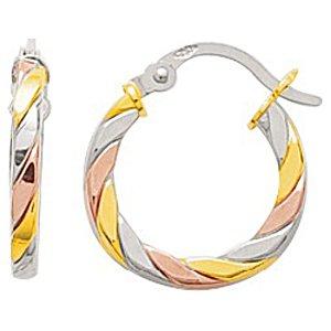 So Chic Bijoux © Boucles d'oreilles Femme Créoles 11 mm Torsade Tricolores Or Jaune Blanc & Rose 750/000 (18 carats)