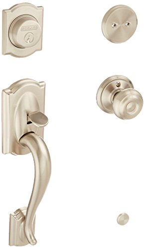 Schlage F93CAM619GEO Camelot Inactive Handleset with Georgian Knob, Satin Nickel