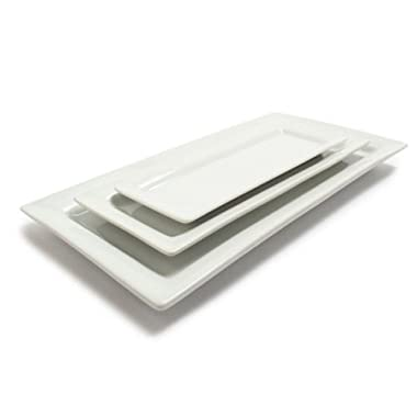 Sur La Table Blanc Rectangular Platters 59909-SET, Set of 3