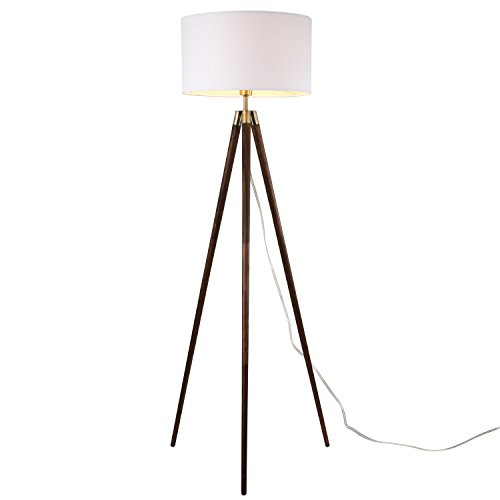 Light Society Celeste Tripod Floor Lamp, Walnut Wood Legs with Antique Brass Finish and White Fabric Shade, Mid Century Contemporary Modern Style (Brass Tripod)