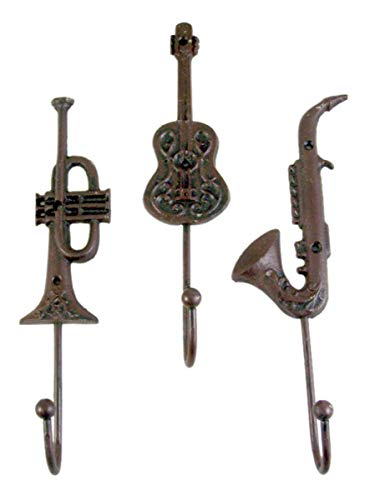 Jazz Instruments Cast Iron Set of 3 Wall Hook 9 3/4 inch ()