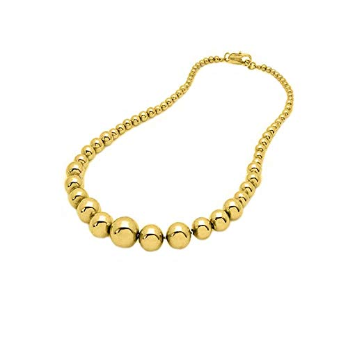 Verona Jewelers Womens 14K Yellow Gold Graduated Bead Ball Necklace Chain-14K Womens Necklace, Gold Bead Necklace ()