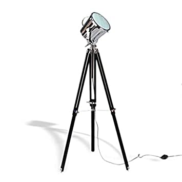 Industrial revolution black wooden tripod spotlight floor lamp industrial revolution black wooden tripod spotlight floor lamp amazon kitchen home mozeypictures Choice Image