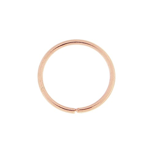 14K Rose Gold 22 Gauge - 6MM Diameter Seamless Continuous Open Hoop Nose Piercing Ring Jewelry