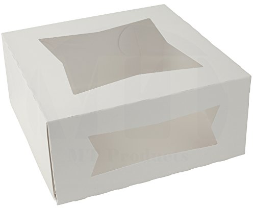 "9"" Length x 9"" Width x 4"" Height White Paperboard Auto-Popup Window Pie / Bakery Box by MT Products (Pack of 15)"