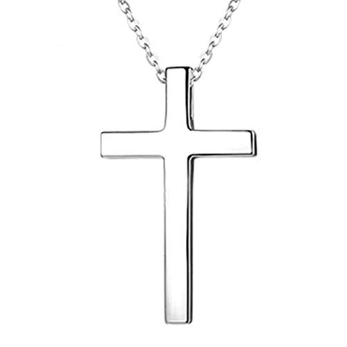 (iFly Stainless Steel Simple Cross Pendant Jewelry Titanium Shiny Silver Tone Necklace for Men Women with 18 20 22 24 Inches Chain in Gift Box (Women: 1.530.7'' Pendant+19.6'' Chain))