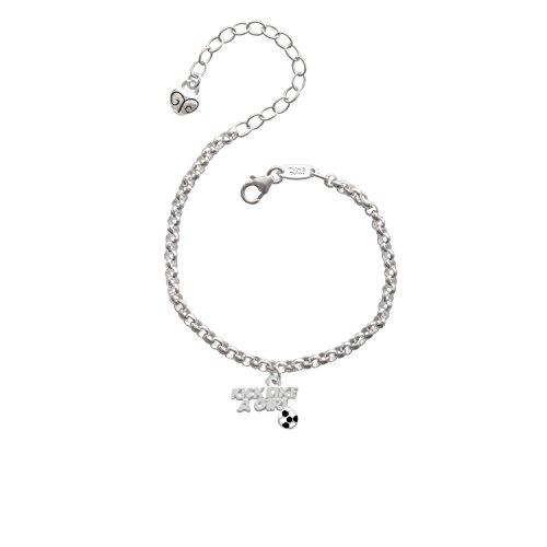 Silvertone Kick Like a Girl with Enamel Soccer Ball - Charm Bracelet, 8