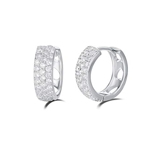 (Carleen 14K White Gold Plated Sterling Silver Pave Cubic Zirconia CZ Small/Tiny/Mini/Little Thick Huggie Cartilage Hoop Earrings for Women Girls, 15mm)
