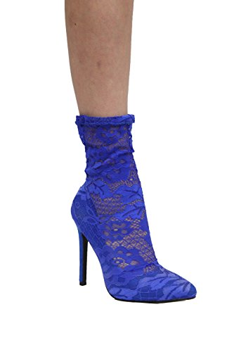 CAPE ROBBIN Women Thigh High/Ankle High Stiletto Boots - Floral Lace Stocking Boot - OTK Pointy Toe Boot -by Royal Blue Keira-1 wrHoqJq