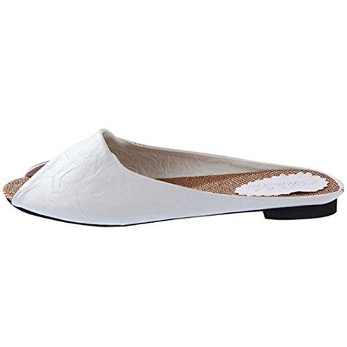 Sandalias de vestir, Ouneed ® Moda mujer verano Artificial PU sandalias Peep-toe bajo zapatos ojotas Blanco
