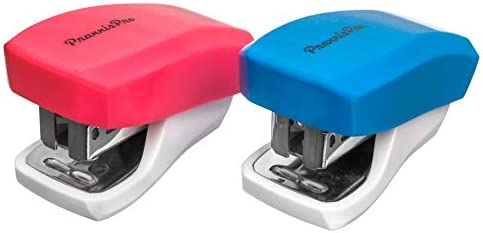 Staples 2 to 18 Sheets. PraxxisPro Mini Staplers Blue, Pink Built in Staple Remover