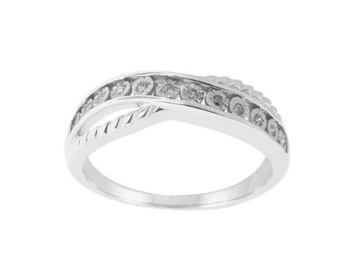 0.06 CTTW Sterling Silver White Diamond with illusion plate Band