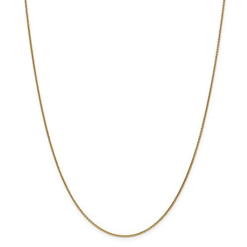 14k Yellow Gold 14in 1mm Solid Polished Cable Chain Necklace