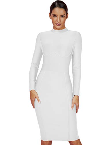UONBOX Women's Rayon Long Sleeves Midi Fall Winter Night Club Party Bodycon Bandage Dress (L, White)