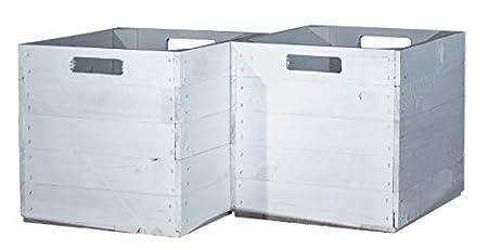 Contenitori Per Scaffali Ikea.Vinterior 2 Scatole Di Legno Bianco Per Mensole Kallax 33x38x33 Cm