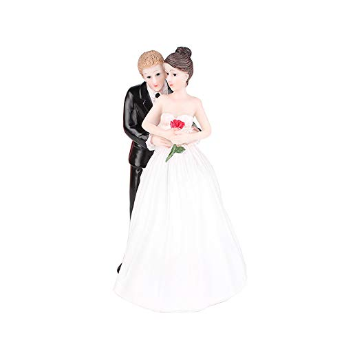 Bride and Groom Romantic Rose Resin Cake Topper Groom Bride Doll Ornaments Wedding Cake Decoration(Romantic - Wedding Toppers Cake Romantic